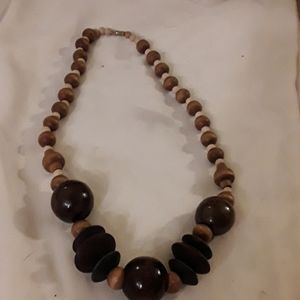 Vintage hand carved wood bead necklace